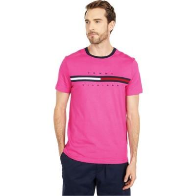 トミー ヒルフィガー Tommy Hilfiger Adaptive メンズ Tシャツ トップス Signature Stripe Tommy T-Shirt Raspberry Rose