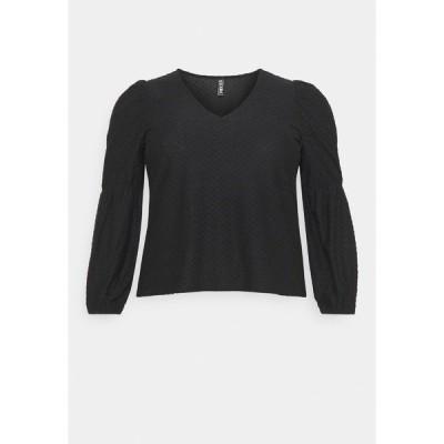 ピーシーズ カーブ カットソー レディース トップス PCGERALDINE - Long sleeved top - black