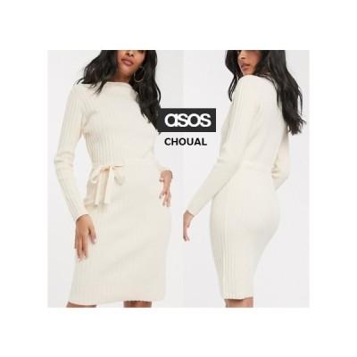 レディース 結婚式 二次会 ドレス ASOS/Fashion Union タイサイドのリブ編みミディドレス