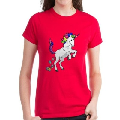 レディース 衣類 トップス CafePress - Unicorn Cupcakes Women's Classic T Shirt - Women's Dark T-Shirt Tシャツ