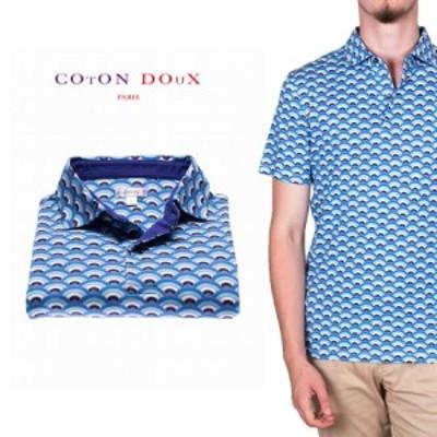 CotonDoux(コトンドゥ)ポロシャツ 半袖 ウェーブ 波 プリント 柄シャツ コットン ジャージー素材 mp92d123waves