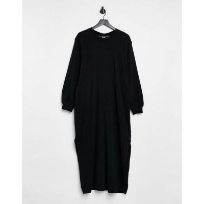 アンドアザーストーリーズ ミディドレス レディース & Other Stories organic cotton tie waist knitted midi dress in black エイソス ASOS ブラック 黒