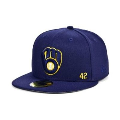 ニューエラ メンズ 帽子 アクセサリー Men's Milwaukee Brewers Jackie Robinson 50th Patch 59FIFTY-FITTED Cap Navy
