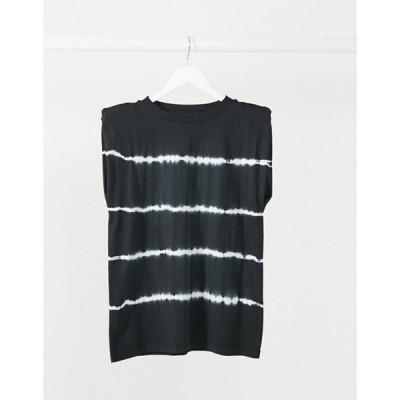エイソス レディース シャツ トップス ASOS DESIGN t-shirt with padded shoulder in tie dye stripe