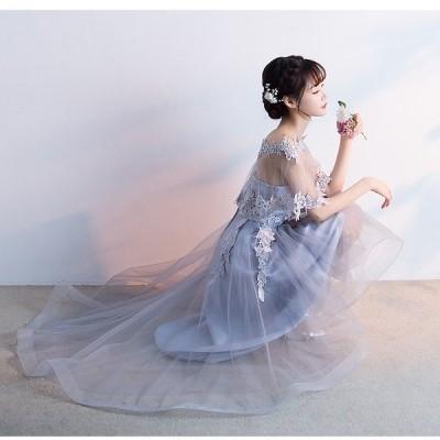 XS ベアトップ ミモレ丈 お呼ばれ ミディ丈 シースルー 花柄 ドレス チュール ワンピース フレア  小さいサイズ ケープ付き フィッシュテール 137