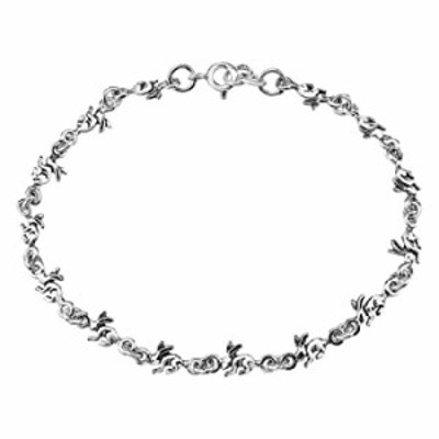 Adorable Chain of Hopping Rabbits .925 Sterling Silver Link Bracelet