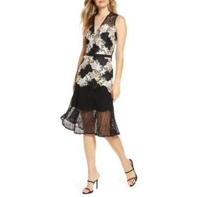 アドレイン ラエ レディース ワンピース トップス Lizette Lace Midi Dress IVORY/BLACK