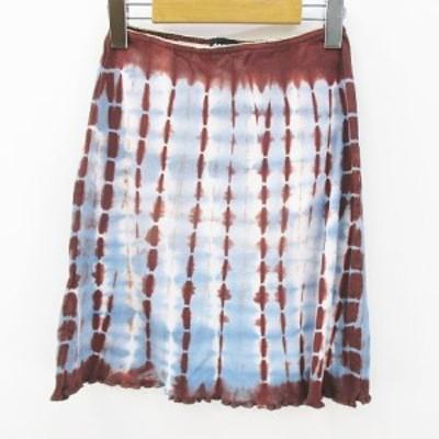 【中古】19501 I PINCO PALLINO 膝上 ミニ 台形 スカート 10 茶系 ブラウン 水色 ライトブルー イタリア製 綿