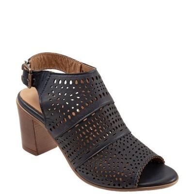 ブエノ レディース サンダル シューズ Upton Perforated Leather Block Heel Sling Sandals Navy