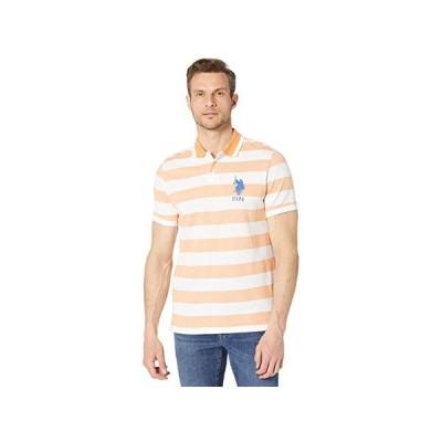 U.S. POLO ASSN. Marble Stripe Polo メンズ シャツ トップス Tango Orange