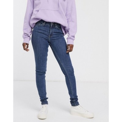 ウィークデイ レディース デニムパンツ ボトムス Weekday Body organic cotton super stretch skinny jeans in mid blue