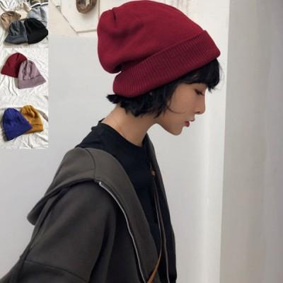 ニット帽 男女兼用 レディース メンズ 厚手 リブ編み アクリル ウール 2重 ダブル素材 ハット 帽子 おそろいペア 防寒 あったか 無地 シンプル オ