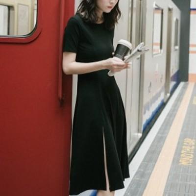 フレアワンピース ひざ丈 体型カバー スリット セクシー Tシャツ  大人可愛い ガーリー カジュアル 韓国ファッション トレンド レディー