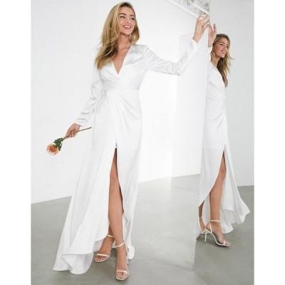 エイソス レディース ワンピース トップス ASOS EDITION Sadie pleated plunge wrap wedding dress in satin Ivory