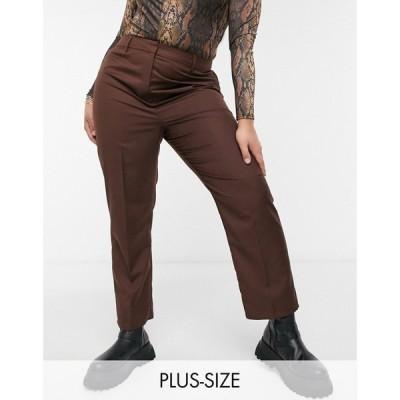 コルージョン Collusion レディース ボトムス・パンツ Plus Straight Leg Trouser In Chocolate Brown ブラウン