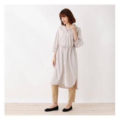 【シューラルー/SHOO・LA・RUE】 オープンカラー七分袖シャツワンピース