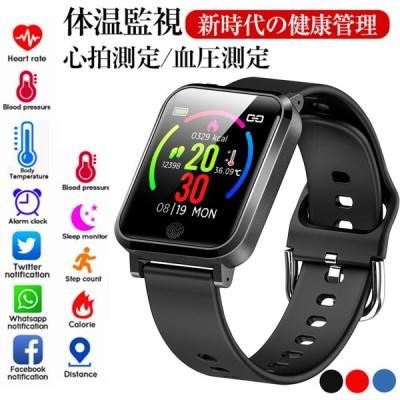 スマートウォッチ 24時間体温監視 腕時計 ブレスレット 24時間血圧計 心拍 血中酸素濃度計 歩数計 IP67防水 着信通知 睡眠検測 LINE対応 日本語 説明書(F29)
