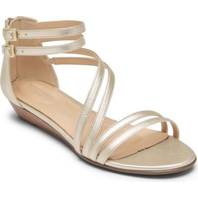 ロックポート ROCKPORT レディース サンダル・ミュール ウェッジソール シューズ・靴 Total Motion Zandra Wedge Sandal Moon Gold Leather