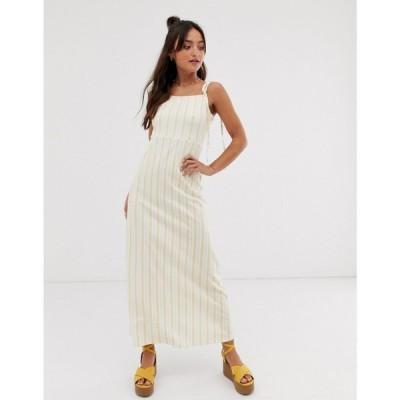 エイソス ASOS DESIGN レディース ワンピース ワンピース・ドレス maxi square neck dress with tie straps in natural stripe Natural stripe
