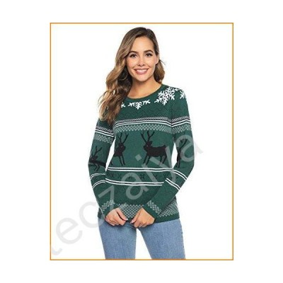 Abollria Ugly Christmas Sweater for Women Vintage Santa Snowflakes Knit Sweater Pullover並行輸入品