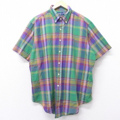 XL/古着 半袖 ブランド シャツ 90s ラルフローレン Ralph Lauren ワンポイントロゴ 大きいサイズ ロング丈 コットン ボタンダウン 緑他 グリーン チェック 21mar