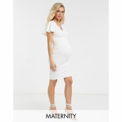 ブルーム Blume Maternity レディース ボディコンドレス ミドル丈 ワンピース・ドレス Babyshower Flutter Sleeve Bodycon Midi Dress In