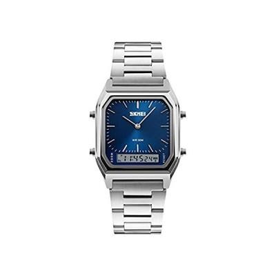 ユニセックス腕時計 防水 ミリタリー アナログ デジタル腕時計 LED マルチタイム クロノグラフ ステンレススチール ビジネスウォッチ メンズ M