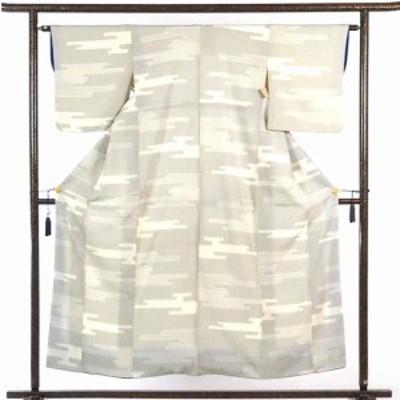 【中古】リサイクル紬 / 正絹薄ベージュ地袷紬着物 / レディース【裄Mサイズ】(古着 中古 紬 リサイクル品)