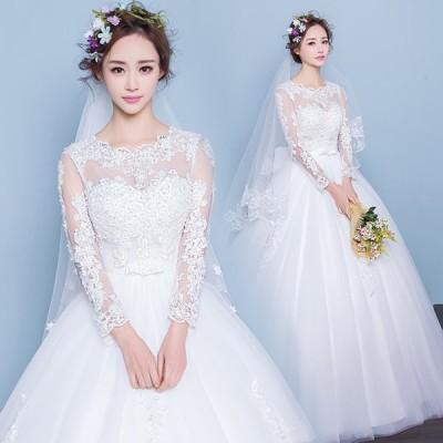 マタニティドレス 安い 長袖 ウエディングドレス 結婚式 ウェディングドレス エンパイア お呼ばれ 二次会 ロングドレス ブライダル 花嫁 妊婦可 wedding dress