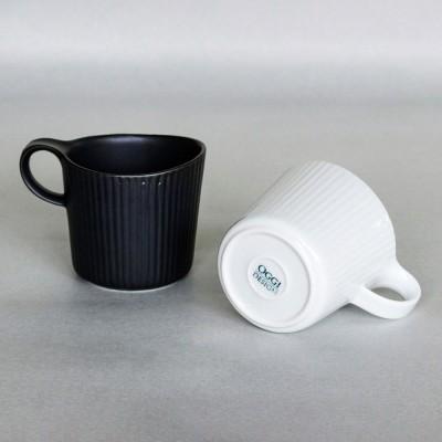 波佐見焼 線彫 ペアマグカップ(白・黒)
