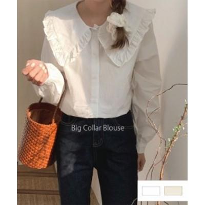 【春物先行販売】ビッグカラーブラウス 23003 ゆったり 春夏服 シャツ 大きい襟トップスオーバーサイズ レースシャツ 韓国ブラウス
