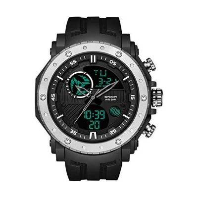 Military TacMilitary Tactical Watches for Men Sports Big Large Dual Dial Digital Analog Outdoor Electronic Quartz Wristwatch(並行輸入