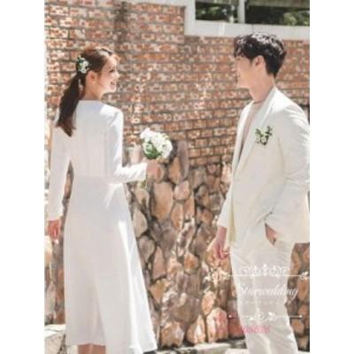 ウェディングドレス 結婚式 Aラインドレス 花嫁 二次会 ウエディングドレス 長袖 お呼ばれ 披露宴 パーティードレス 二次会 ブライダル用