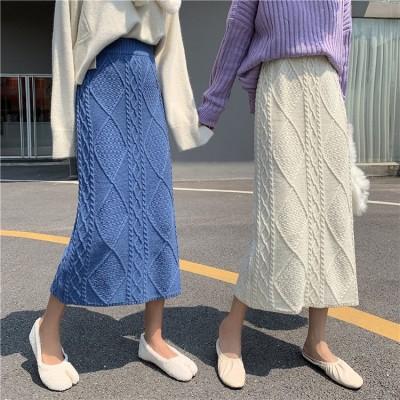 高品質!100%好評 ウエストニット ロングスカート 体型カバー 着痩せ カジュアル  ニット ロングスカート 気質 かわいい   編み物 ロングスカート