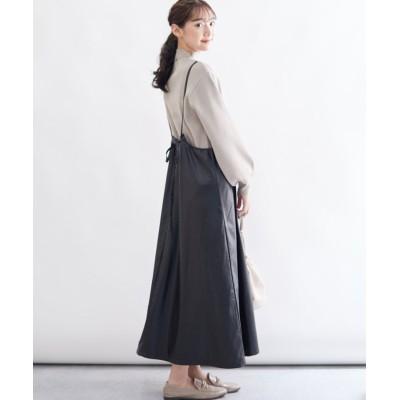 (Rejoule/リジュール)【2020秋冬新作 】エコレザー サロペットスカート/レディース ブラック