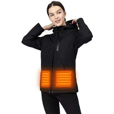 okcsc 電熱ジャケット 防風防寒 マウンテンジャケット おしゃれ 通気 ヒーター内蔵 モバイルバッテリー給電 フード付き(s2012250142)