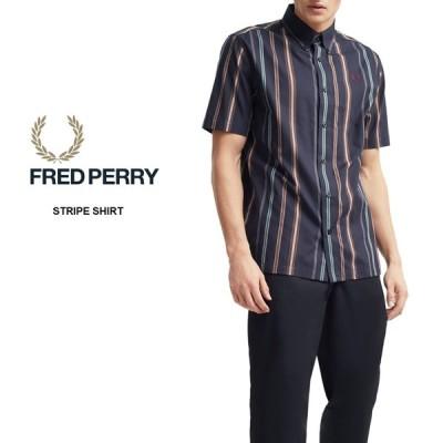 フレッドペリー FRED PERRY ウェア ストライプ シャツ STRIPE SHIRT M8563 ネイビー 608