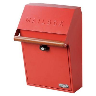 壁掛け郵便ポスト ネコポス対応 A4 ガルバリウム鋼板 レッド キーロック式