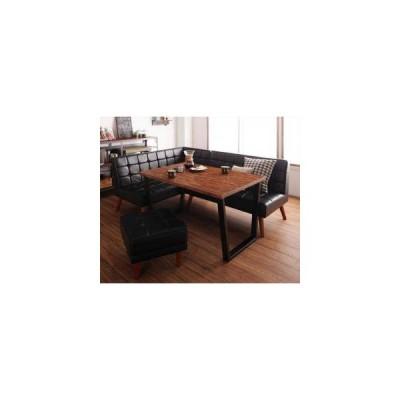 ダイニングテーブルセット 5人用 コーナーソファー L字 l型 ベンチ 椅子 レザー 4点 (机+ソファx1+左肘x1+スツール1) 幅120 西海岸 ヴィンテージ 低め 古材風