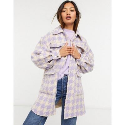 ワイ エー エス Y.A.S レディース ジャケット シャツジャケット アウター Oversized Shacket With Popper Front In Pastel Lilac Houndstooth チェック