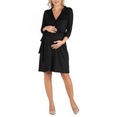24セブンコンフォート ワンピース トップス レディース Knee Length Collared Maternity Wrap Dress Black