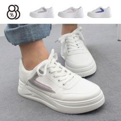 【88%】4.5cm休閒鞋 休閒百搭側邊打勾 皮革厚底圓頭綁帶包鞋 小白鞋