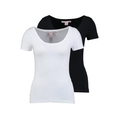 アンナフィールド Tシャツ レディース トップス 2 PACK  - Basic T-shirt - black/white