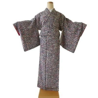 小紋 中古 正絹 格安 安い 美品 リサイクル 仕立て上がり 晴れ着 着物 和装 和服 紺 宝尽くし 吉祥文様