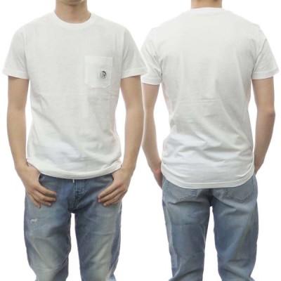 DIESEL ディーゼル メンズクルーネックTシャツ T-WORKY-MOHI / 00SE3F 0TAZK オフホワイト /2021春夏新作