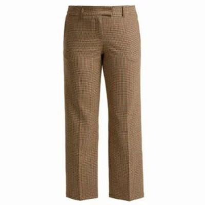 アーペーセー クロップド Cece checked trousers Brown