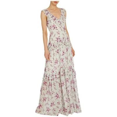 モニーク ルイリエ レディース ワンピース トップス Sleeveless Floral Printed Gown w/ Pleated Trim
