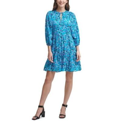 カルバンクライン ワンピース トップス レディース Floral-Print Tie-Neck A-Line Dress Cerulean Multi