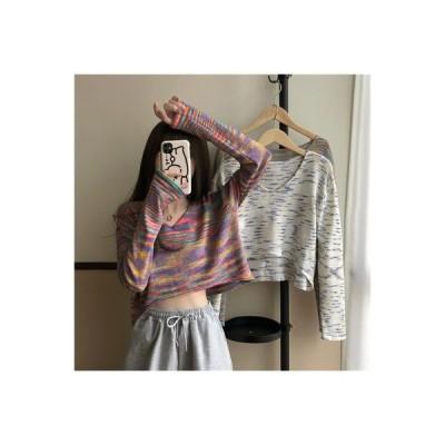 【送料無料】ハン 風 レインボー 染カラー カラー + 襟 長袖セーター 女 秋と冬 新しいデザイン | 364331_A63976-1163990