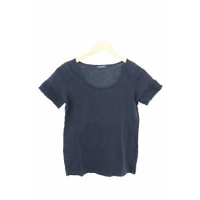 【中古】プーラフリーム pour la frime カットソー Tシャツ 半袖 レース ミニチュール 紺 ネイビー /TH1 レディース